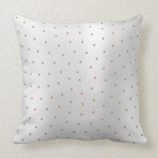 Pink Rose Gold Swarovski Crystal Silver Gray Dots Throw Pillow