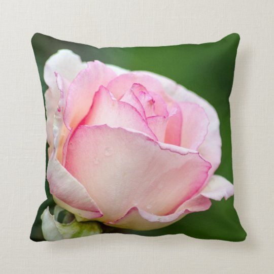 Pink Rose - Green Background Throw Pillow