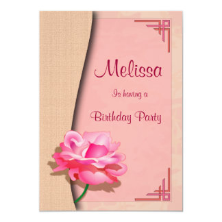 Pink Rose Happy Birthday Card