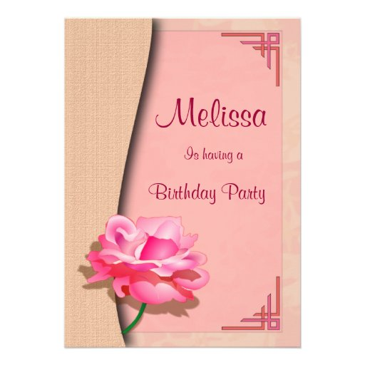Pink Rose Happy Birthday Custom Invite