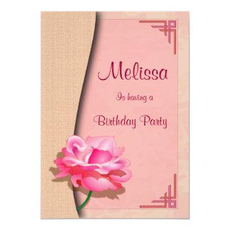 "Pink Rose Happy Birthday 5"" X 7"" Invitation Card"