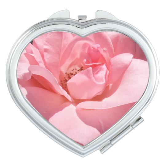 Pink Rose  Heart Compact Mirror