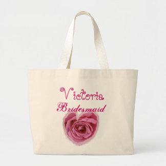 Pink Rose Heart Personalized Bridesmaid Large Tote Bag