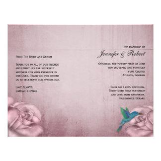 Pink Rose Hummingbird Wedding Program