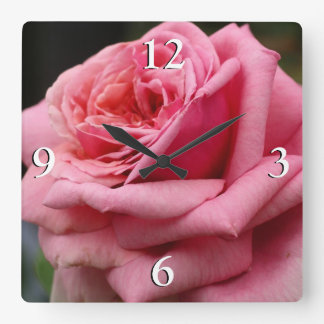 Pink Rose I Pretty Floral Photography Clocks