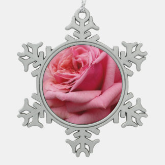 Pink Rose I Pretty Floral Photography Pewter Snowflake Ornament