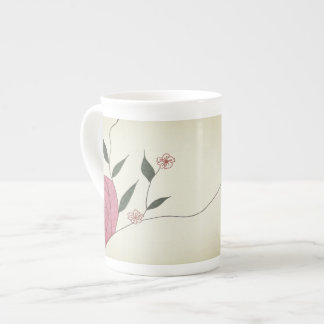 Pink rose Ikebana minimalist china mug