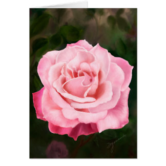 Pink Rose in Full Bloom Card