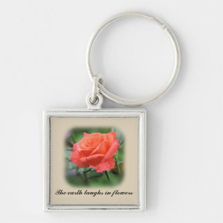 Pink Rose in full bloom Keychain