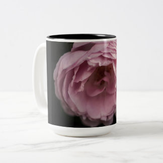 Pink rose in the darkness Two-Tone coffee mug