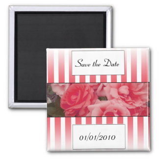 Pink rose invitation save the date wedding invite square magnet