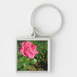 Pink Rose key chain, customize Silver-Colored Square Keychain