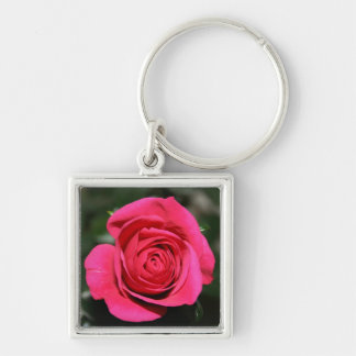 Pink Rose Keyring Silver-Colored Square Keychain
