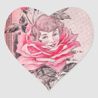 Pink Rose Lady Heart Sticker | Vintage Image