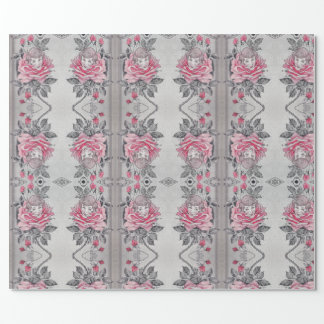 Pink Rose Lady Wrapping Paper | Soft Elegant Grey