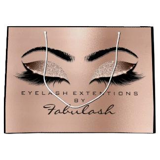 Pink Rose Lashes Eyes Makeup Gold Browns Large Gift Bag