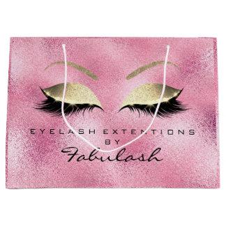 Pink Rose Lashes Glitter  Makeup Studio  Branding Large Gift Bag
