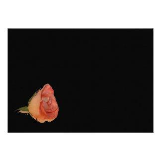 Pink rose left corner black background design personalized invitation