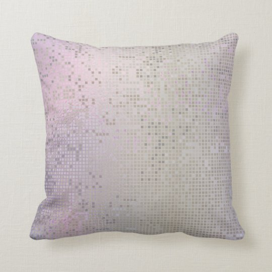 Pink Rose Lilac White Purple Silver Cyber Numeric Throw Pillow