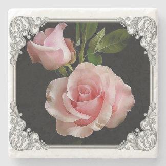 Pink rose marble coaster. stone coaster