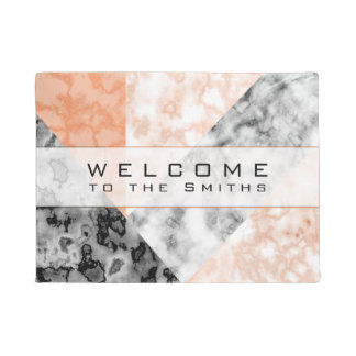 Pink Rose Marbleized Marble Rose Collage. WELCOME Doormat