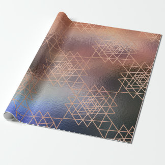 Pink Rose Metallic Gold Hexagon Geometry Red Bean Wrapping Paper