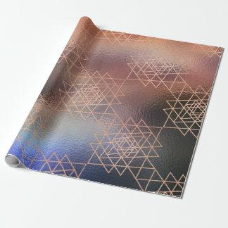 Pink Rose Metallic Gold Hexagon Geometry Red Bean Wrapping Paper