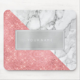 Pink Rose  Metallic Gray Marble White Rectangular Mouse Pad