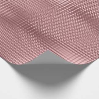 Pink Rose Metallic Grill Stripes Minimal Lux Wrapping Paper