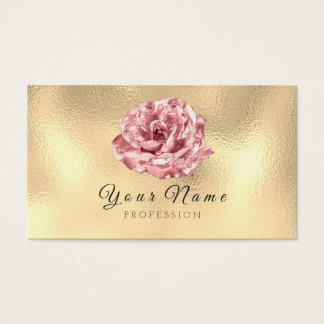 Pink Rose Metallic Lux Champagne Gold Glass Business Card