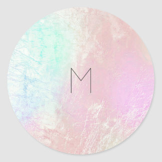 Pink Rose Mother Pearl Blush Metallic  Monogram Classic Round Sticker