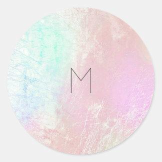 Pink Rose Mother Pearl Blush Metallic  Monogram Round Sticker
