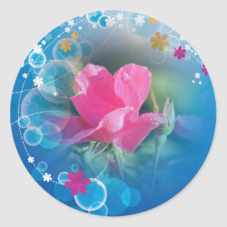 Pink Rose Multi Products Selected Classic Round Sticker