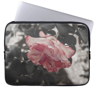 Pink Rose on Black and White Background Photo Laptop Sleeve