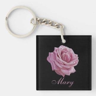 Pink Rose on Black Customizable Text Single-Sided Square Acrylic Keychain