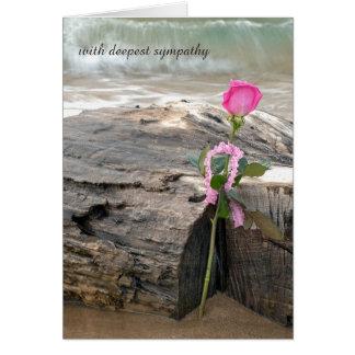pink rose on driftwood sympathy card