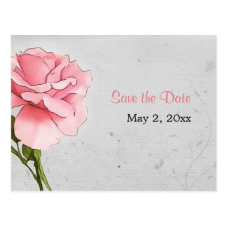 Pink Rose on Gray Save the Date Postcard