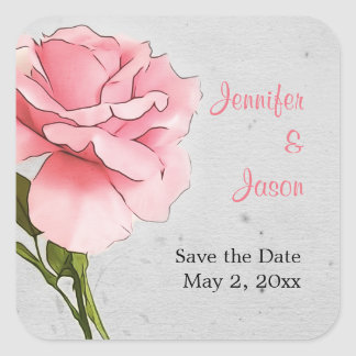 Pink Rose on Gray Save the Date Sticker