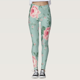 Pink Rose on Teal French Antique Floral Leggings