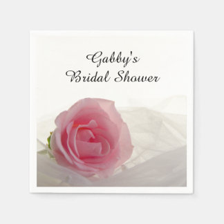 Pink Rose on White Bridal Shower Disposable Napkin