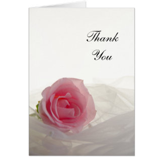 Pink Rose on White Bridesmaid Thank You Card