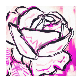 Pink Rose Painting for Breast Cancer Survivor Gift Canvas Print