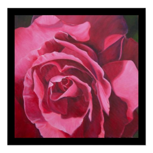 Pink Rose Painting with Black Border Art Poster