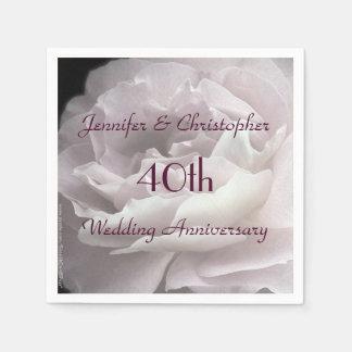 Pink Rose Paper Napkins, 40th Wedding Anniversary Disposable Napkin