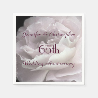 Pink Rose Paper Napkins, 65th Wedding Anniversary Paper Napkin