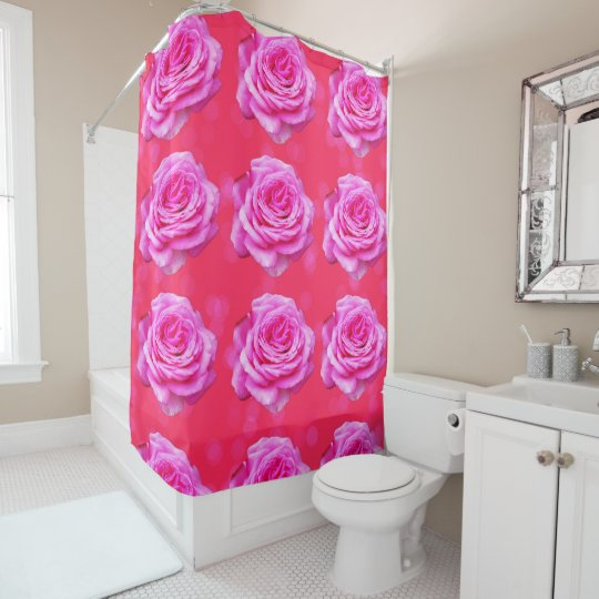 Pink_Rose_Pattern_Bokeh,_Bathroom_Shower_Curtain