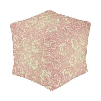Pink Rose Pattern Cube Pouf