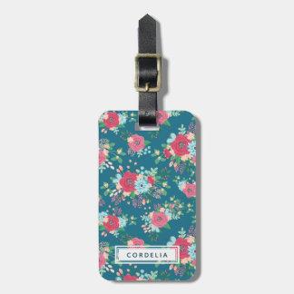 Pink Rose Pattern - Custom Name Address Luggage Tag