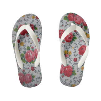 pink rose pattern kid's flip flops