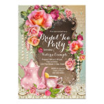 "Pink Rose Pearl Bridal Tea Party 5"" X 7"" Invitation Card"